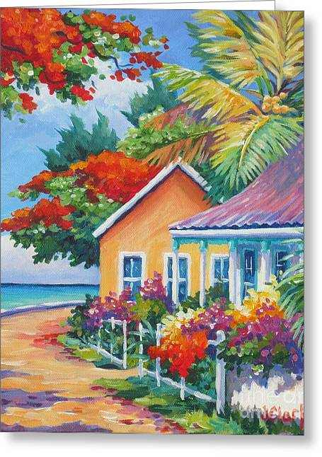 Carlton Greeting Cards - A Cayman Street in Summer Greeting Card by John Clark