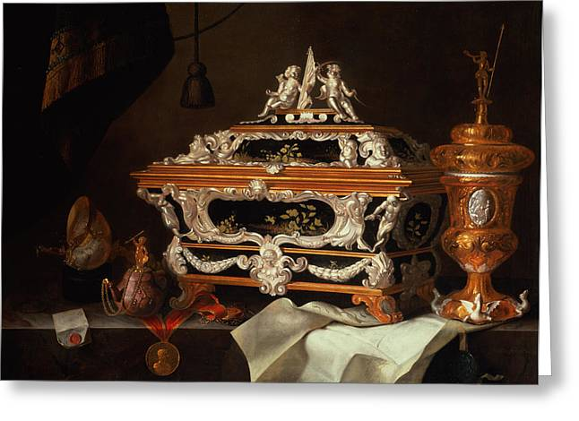 Casket Greeting Cards - A Celebration Of The Goldsmiths Art Oil Greeting Card by Pieter Gerritsz. van Roestraten