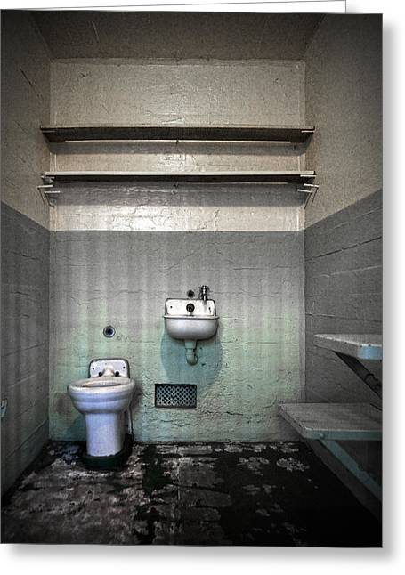 Toilet Bowl Greeting Cards - A cell in Alcatraz prison Greeting Card by RicardMN Photography