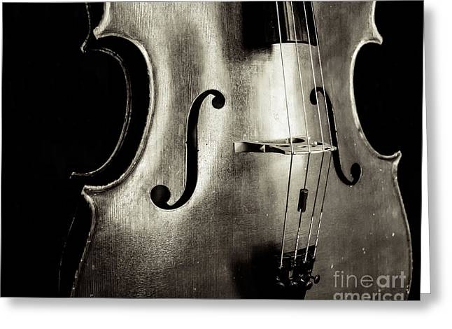 Cellist Greeting Cards - A Cello Solo Greeting Card by Emily Enz