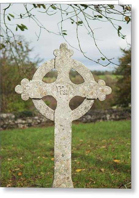 Fall Trees Greeting Cards - A Celtic Cross Tombstoneireland Greeting Card by John Kroetch