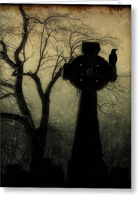 Ravens In Graveyard Greeting Cards - A Celtic Crow Greeting Card by Gothicolors Donna Snyder