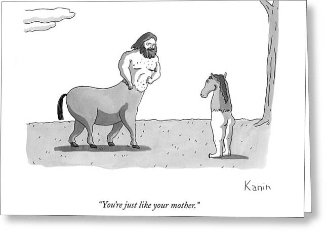 A Centaur Angrily Talks To A Creature Who Greeting Card by Zachary Kanin