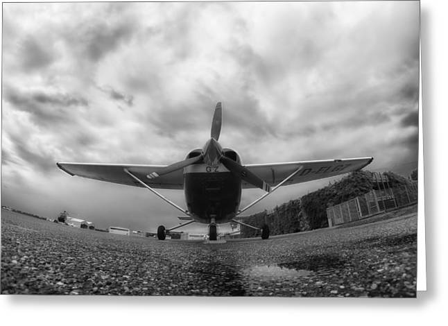 Ground Level Greeting Cards - A Cessna in Fisheye Greeting Card by Mountain Dreams