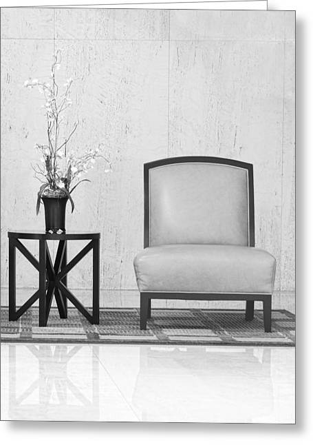 Coffee Table Greeting Cards - A chair and a table with a plant  Greeting Card by Rudy Umans