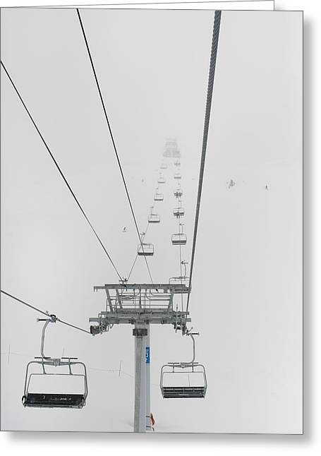 Ski Hill Greeting Cards - A Chairlift At A Ski Resort Whistler Greeting Card by Keith Levit