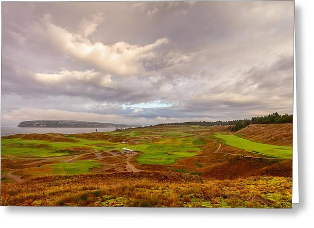 Espn Greeting Cards - A Chambers Bay Morning Greeting Card by Ken Stanback