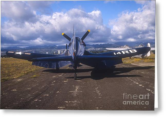 Military Airplanes Greeting Cards - A Chance Vought F4u Corsair On The Ford Greeting Card by Michael Wood