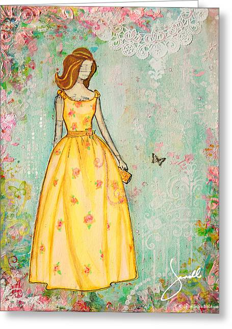 Dress Greeting Cards - A Charmed Life Greeting Card by Janelle Nichol