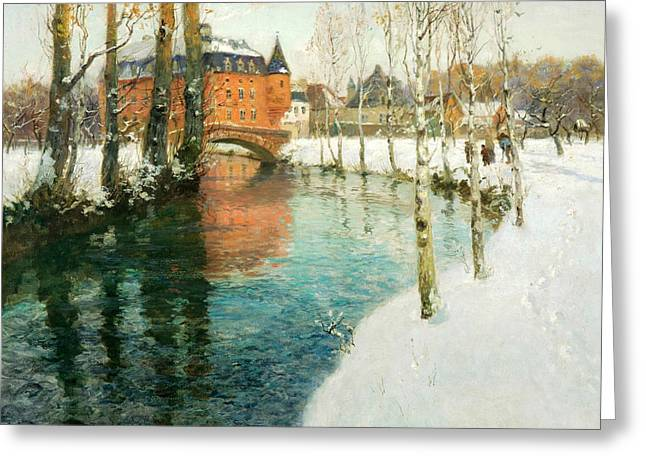 Thaulow Greeting Cards - A Chateau in Normandy Greeting Card by Frits Thaulow
