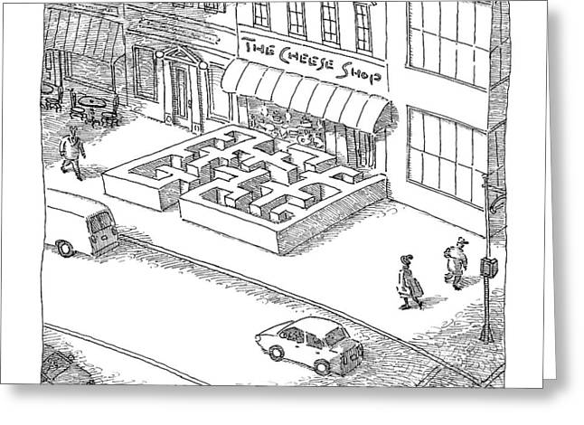 A Cheese Shop Has The Exterior Of A Mouse Maze Greeting Card by John O'Brien