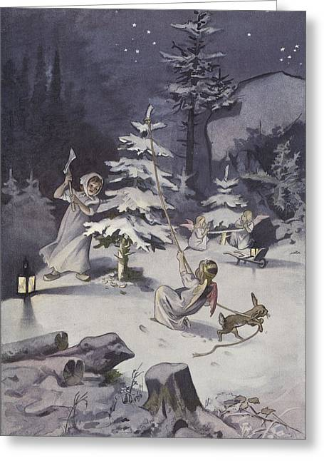 Hare Greeting Cards - A cherub wields an axe as they chop down a Christmas tree Greeting Card by French School