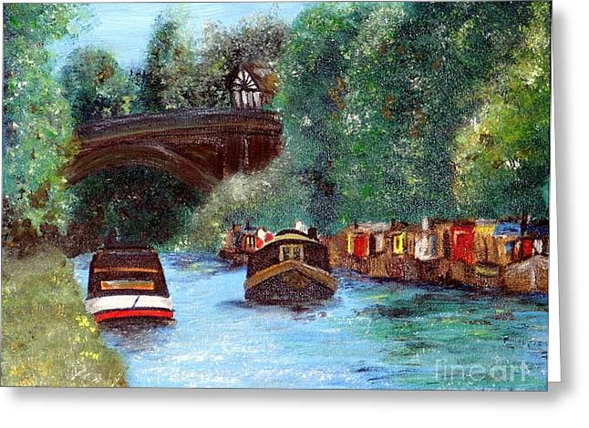 Abigail Greeting Cards - A Cheshire Canal Remembered Greeting Card by Lady I F Abbie Shores