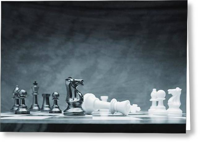 Topple Greeting Cards - A Chess Game Greeting Card by Don Hammond