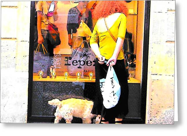 Storefront Digital Greeting Cards - A chic Parisian Lady Greeting Card by Jan Matson