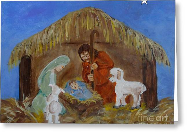 Star Of Bethlehem Drawings Greeting Cards - A Child is Born Greeting Card by Elizabeth Pritchett