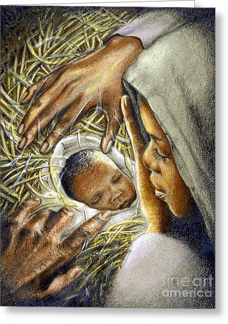 Manger Greeting Cards - A Child is Born Greeting Card by James Loveless