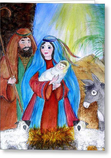 O Lord Greeting Cards - A Child Is Born Greeting Card by Laura Nance
