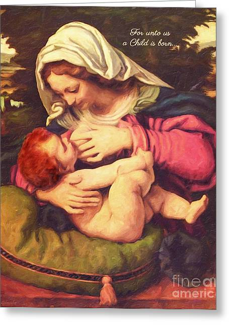 Religious Art Digital Art Greeting Cards - A Child Is Born Greeting Card by Lianne Schneider