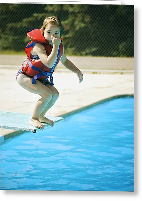 Recreational Pool Greeting Cards - A Child Jumps Off Diving Board Greeting Card by Kelly Redinger