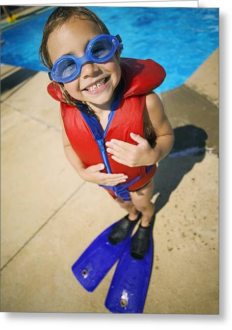 Young Albert Greeting Cards - A Child Ready To Go Swimming Greeting Card by Kelly Redinger