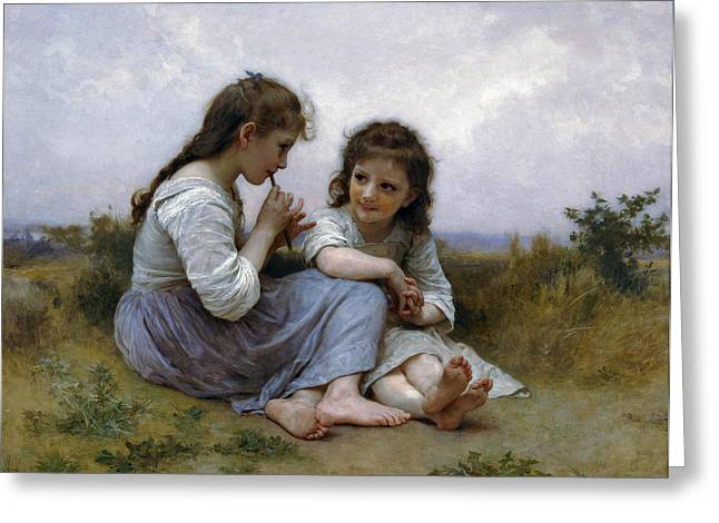 Williams Sisters Greeting Cards - A Childhood Idyll Greeting Card by William Bouguereau