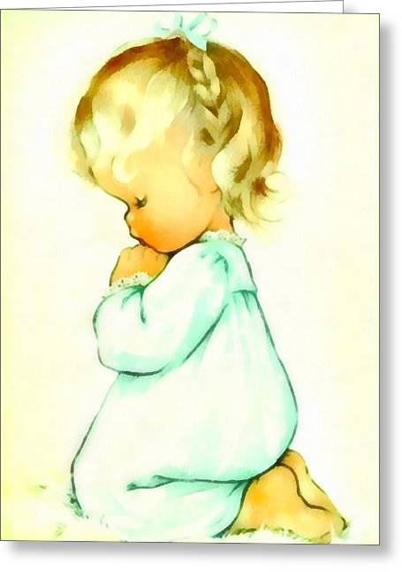 Pajamas Greeting Cards - A Childs Prayer Greeting Card by Charlotte Byj