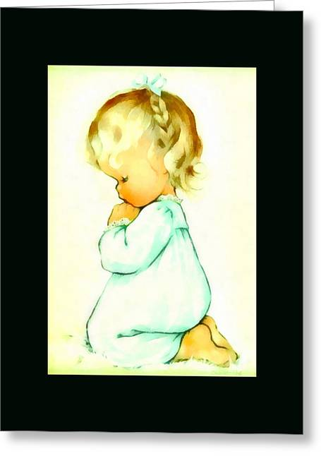 Charlotte Greeting Cards - A Childs Prayer Duvet Greeting Card by Charlotte Byj