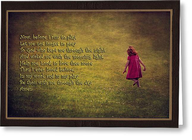 Playing Digital Art Greeting Cards - A Childs Prayer For Morning  Greeting Card by Maria Angelica Maira