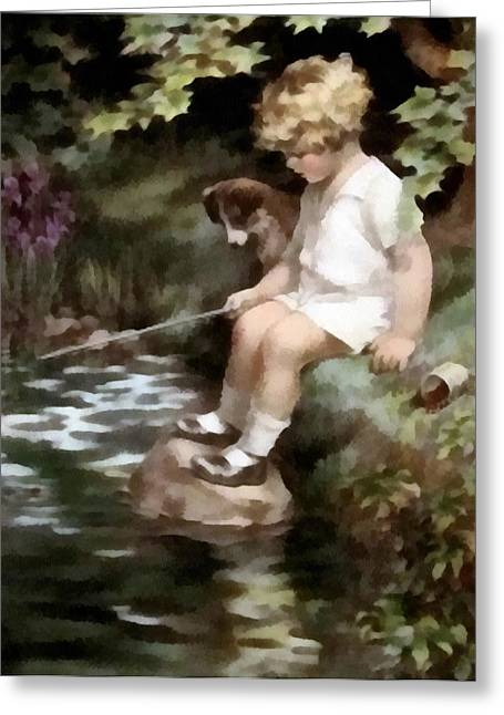 Fishing Creek Digital Greeting Cards - A Chip Off The Old Block Greeting Card by Bessie Pease Gutmann