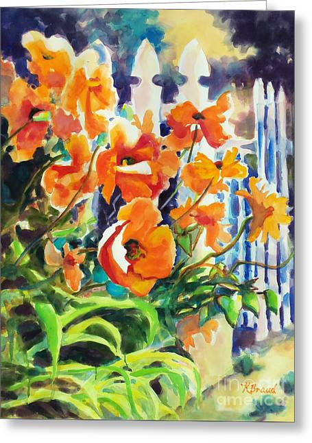 Reds Gold Greens White Blues Greeting Cards - A Choir of Poppies Greeting Card by Kathy Braud