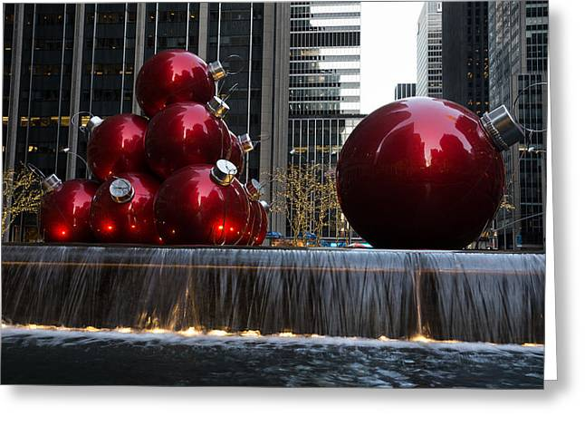 Festivities Greeting Cards - A Christmas Card from New York City - Manhattan Skyline Reflecting in Giant Red Balls Greeting Card by Georgia Mizuleva
