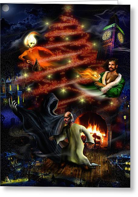 Nightgown Greeting Cards - A Christmas Carol Greeting Card by Alessandro Della Pietra