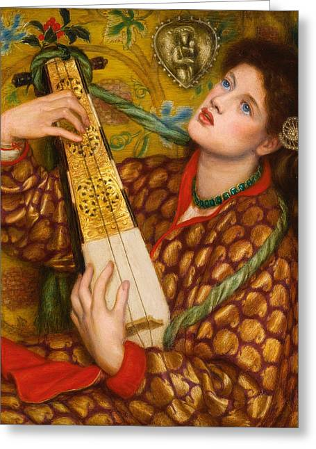Rossetti Greeting Cards - A Christmas Carol Greeting Card by Dante Gabriel Rossetti