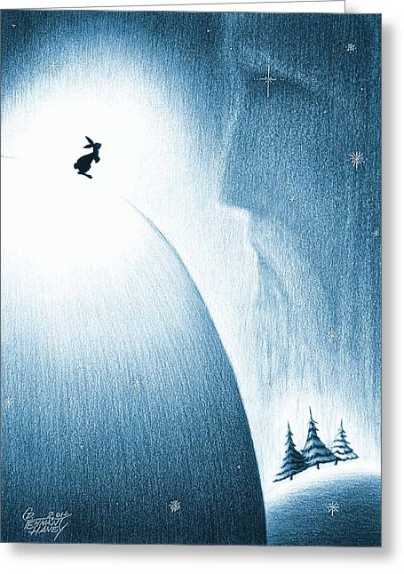 Wintry Drawings Greeting Cards - A Christmas Prayer Greeting Card by Danielle R T Haney