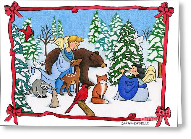 Unique Art Drawings Greeting Cards - A Christmas Scene 2 Greeting Card by Sarah Batalka