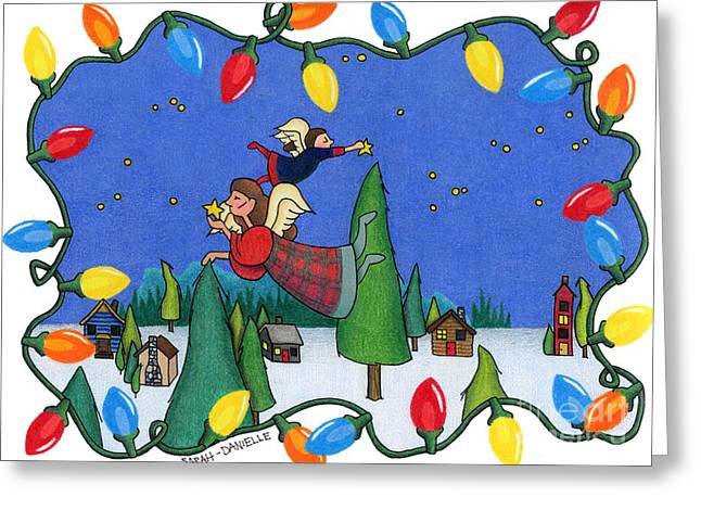Uplifting Drawings Greeting Cards - A Christmas Scene Greeting Card by Sarah Batalka