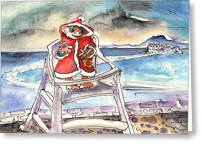 Playa Blanca Greeting Cards - A Christmas Troll in Lanzarote Greeting Card by Miki De Goodaboom