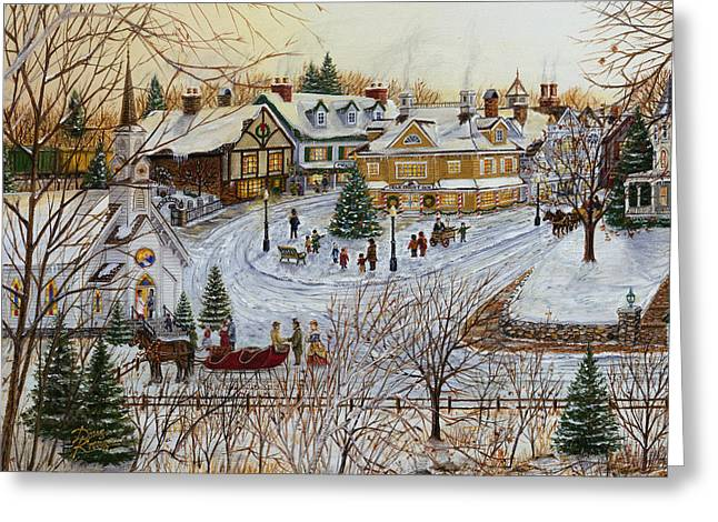 Covered Bridge Greeting Cards - A Christmas Village Greeting Card by Doug Kreuger