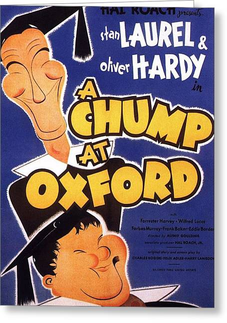 Motion Picture Poster Greeting Cards - A Chump at Oxford Greeting Card by Movie Poster Prints
