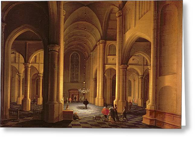 Chandelier Greeting Cards - A Church Interior Greeting Card by Anthonie de Lorme