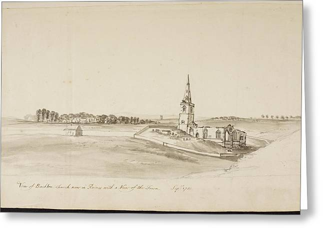 A Church With Tall Spire Greeting Card by British Library