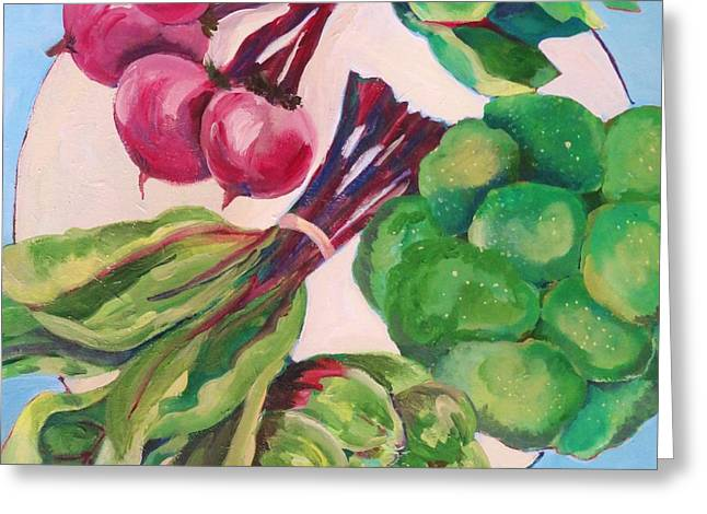 Broccoli Paintings Greeting Cards - A circle of vegetables  Greeting Card by Claudia Van Nes
