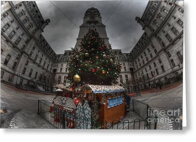 Williams Dam Greeting Cards - A City Hall Christmas Greeting Card by Mark Ayzenberg