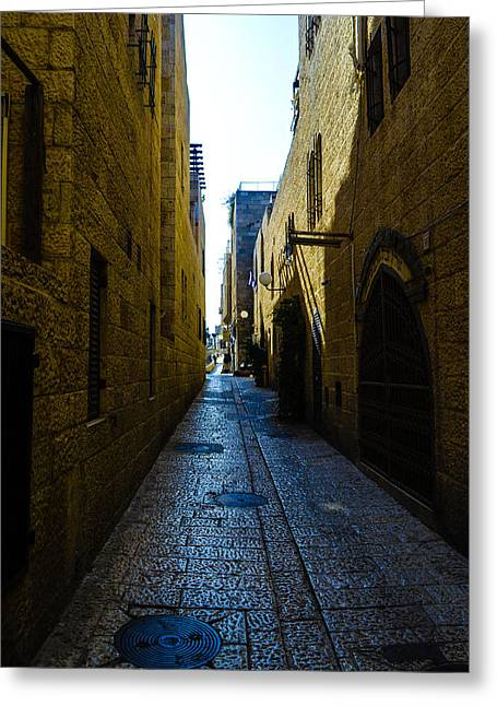 Birthright Greeting Cards - A city street in Jerusalem Greeting Card by Alan Marlowe