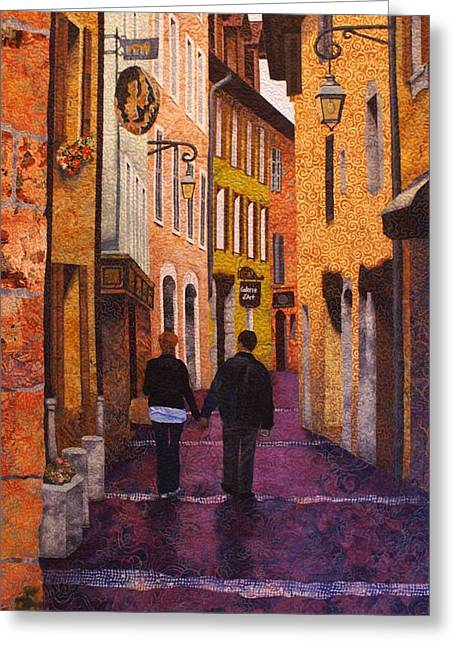 France Tapestries - Textiles Greeting Cards - A City Walk in Spring Greeting Card by Lenore Crawford