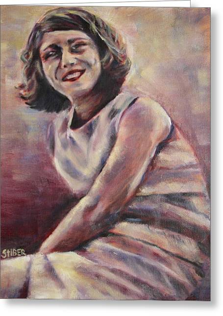 Woman In A Dress Greeting Cards - A Classic Beauty Greeting Card by Kathy Stiber