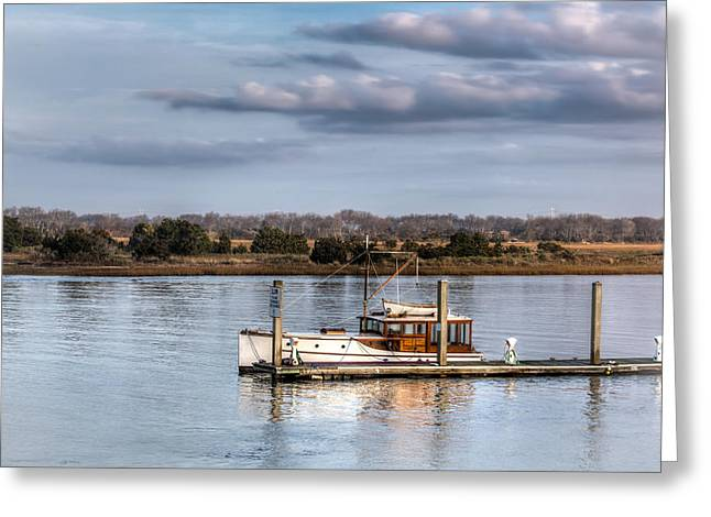 Recently Sold -  - Docked Boat Greeting Cards - A Classic Morning Greeting Card by Walt  Baker