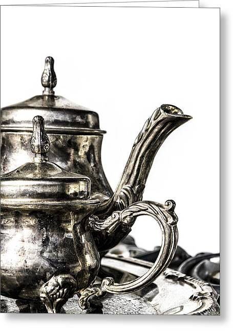 Tea Set Greeting Cards - A Classy Tea Greeting Card by Caitlyn  Grasso