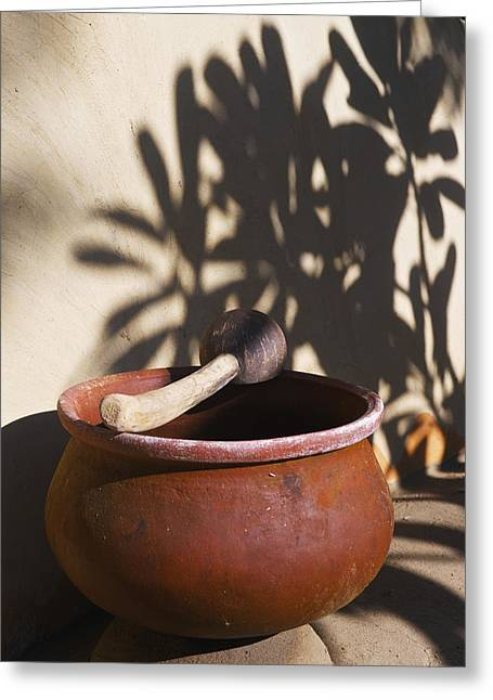 Wooden Bowl Greeting Cards - A Clay Bowl And Wooden Tool Ulpotha Greeting Card by Ingrid Rasmussen